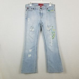 Hollister Distressed Embroidered Jeans